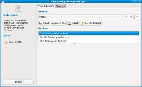 compiz-fusion CompizConfig Setting Manager Fedora backend gconf