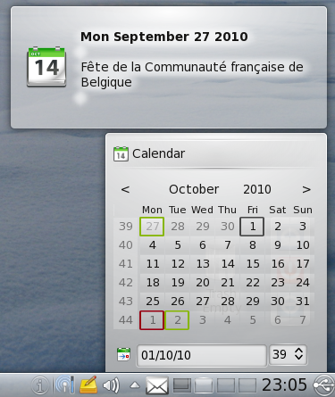 Calendrier KDE Calendar
